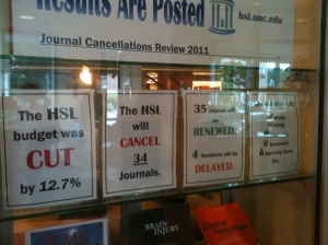 Effects of budget cuts on the Health Services Library at UNC.